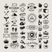 Food logotypes set. Restaurant vintage design elements, logos, badges, labels, icons and objects poster
