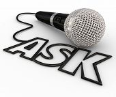 Ask word spelled out in letters formed by a microphone cord to illustrate questions and answers, interviews, reporting and a podcast or radio interview poster
