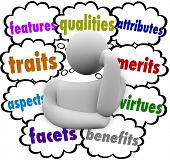 Features, qualities, attributes, traits, merits, aspects, virtues, facets, benefits words in thought clouds above a thinking person poster