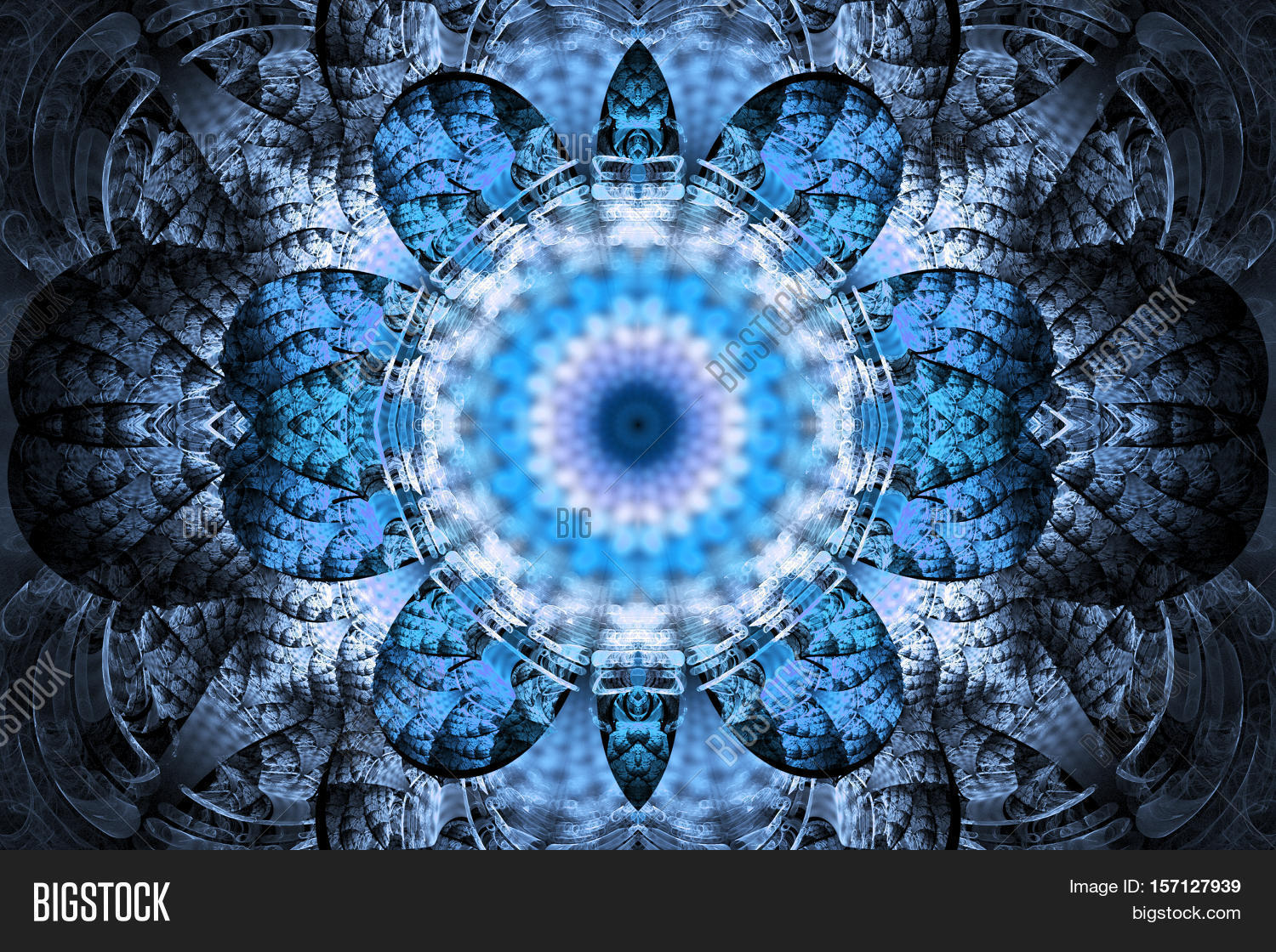 b41ff14ce Intricate symmetrical pattern in blue and white colors. Fantasy fractal  design for posters postcards wallpapers or t-shirts. Digital art. 3D  rendering.