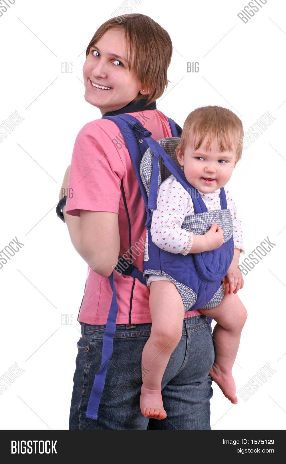 e177d79c19b happy young mother or babysitter carrying a baby in a baby carrier on her  back isolated on white