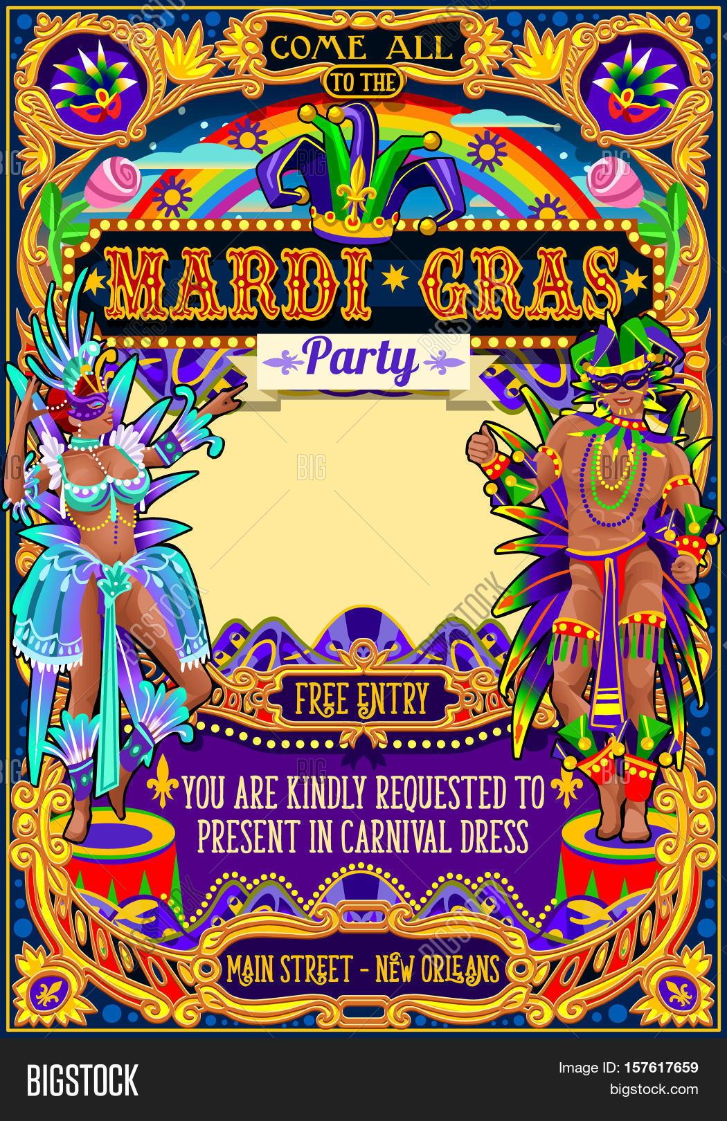 Mardi Gras Festival Poster Vector & Photo | Bigstock