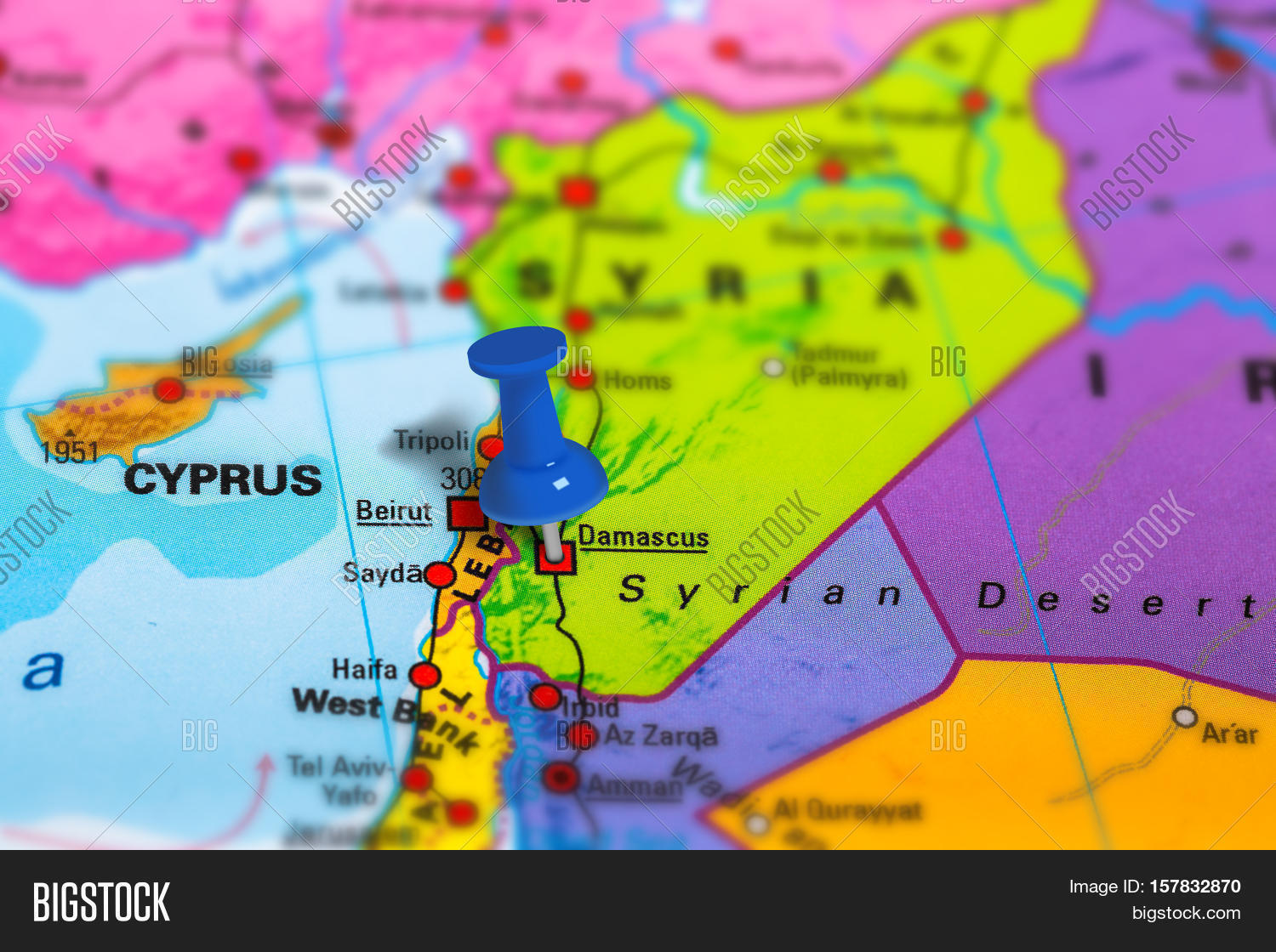 Damascus syria pinned on colorful image photo bigstock damascus in syria pinned on colorful political map of asia geopolitical school atlas tilt gumiabroncs Images