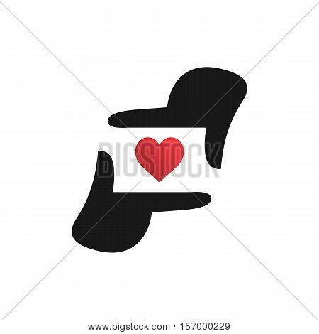 Love Photography logo template, Photographer hand represent camera