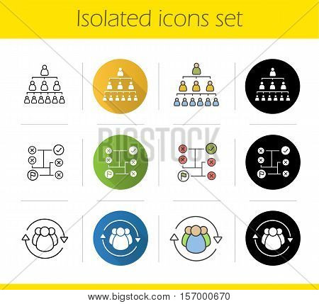 Business concepts icons set. Flat design, linear, black and color styles. Company hierarchy, problems solving, staff turnover. Isolated vector illustrations