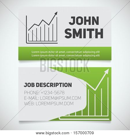 Business card print template with growth chart logo. Easy edit. Marketer. Stockbroker. Stationery design concept. Vector illustration