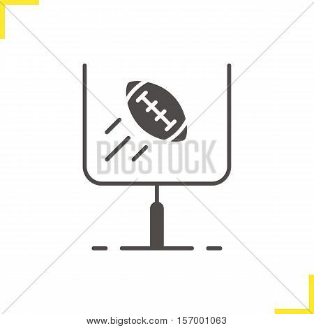 American football or rugby goal icon. Silhouette symbol. Flying ball in gates. Negative space. Vector isolated illustration