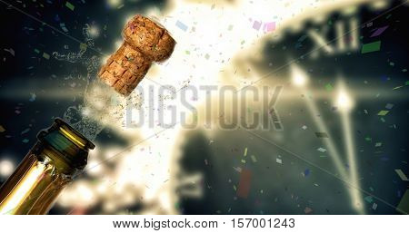Flying colours against close up of champagne cork popping