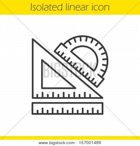 School rulers linear icon. Protractor, transparent and ruler. Thin line illustration. Geometry symbol. Vector isolated outline drawing
