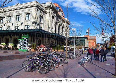 November 16, 2016 in Denver, CO:  Union Station which is a historic building built in 1881 and is the rail transportation hub for the Denver Metro Area where people can commute by local Light Rail and nationwide taken in Downtown Denver, CO