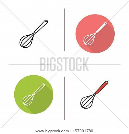 Egg beater icon. Flat design, linear and color styles. Whisk. Isolated vector illustrations