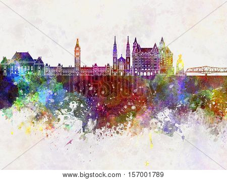 Ottawa V2 skyline artistic abstract in watercolor background