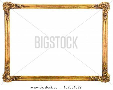 Isolated old gilt wooden frame for art paintings