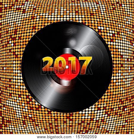 Golden Festive Abstract Background with Vinyl Record and 2017 Date