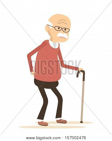 Old man with a cane.  An elderly man suffering from back pain. Backache icon. Vector illustration flat design
