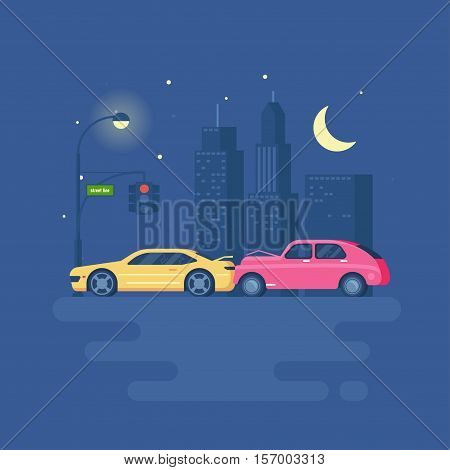 Isolated modern vector illustration of car accident on the background of the city. Trend pseudo volume style. Car crash. Night city with lights. Starry sky and skyscrapers. Traffic light.