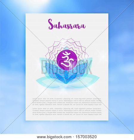 Chakra Sahasrara icon, ayurvedic symbol, concept of Hinduism