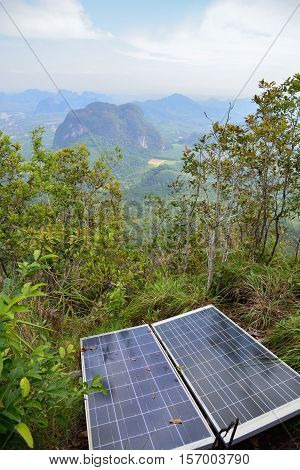 Sun batteries on top of the hill in the jungle, Krabi, Thailand.