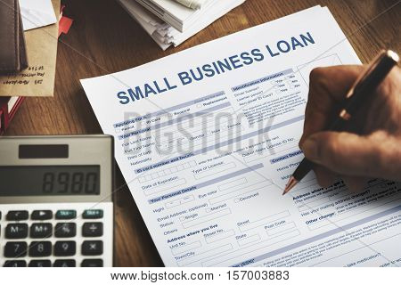 Small Business Loan Form Financial Concept