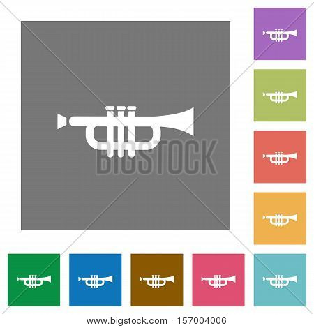 Trumpet flat icons on simple color square background.