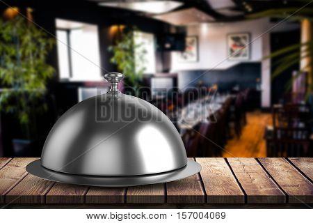 serving platter against restaurant interior
