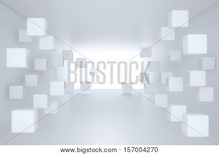 3d illustration. White interior of not existing building with cubes on the wall in perspective. Render.