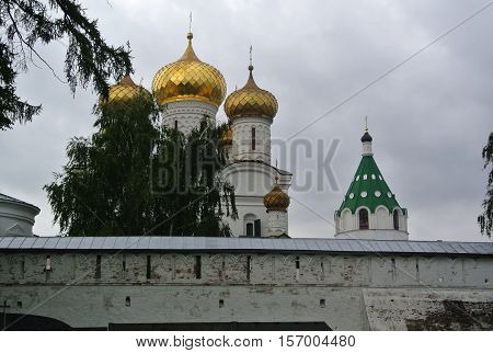Suzdal, Russia. Monastery of Saint Euthymius. The central building of the monastery - a massive Transfiguration Cathedral (XVI-XIX century). Gold ring of Russia. Orthodox architecture