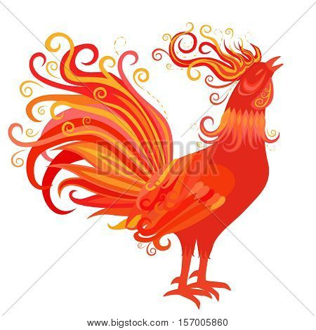 Fire Rooster Crowing. Symbol of New Year 2017. Chinese zodiac sign. Red, orange and yellow colors. Flourish weave design. Vector decorative flame bird. Fiery cock isolated on white background.