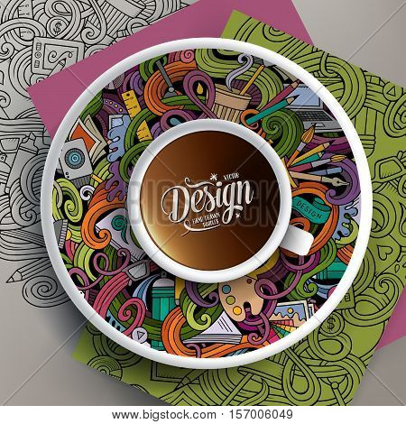 Vector illustration with a Cup of coffee and hand drawn Design doodles on a saucer, on paper and on the background