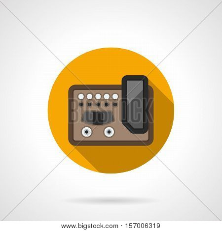 Guitar multiple effects processor. Professional musical equipment to create an original and quality music. Round yellow flat design vector icon.