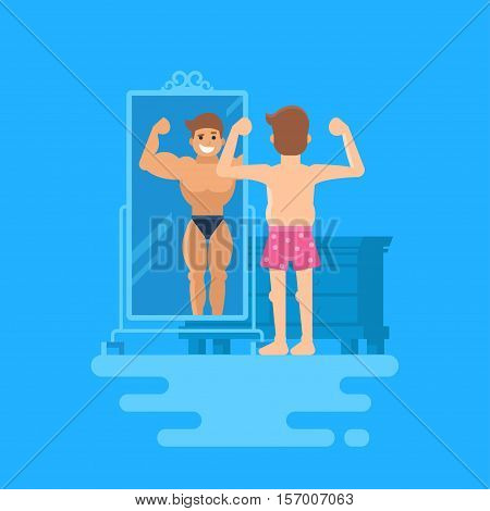 Isolated modern vector illustration of a man standing at the mirror. A bodybuilder is reflected in the mirror. The concept of how people overestimate themselves. Not a sports guy in shorts.