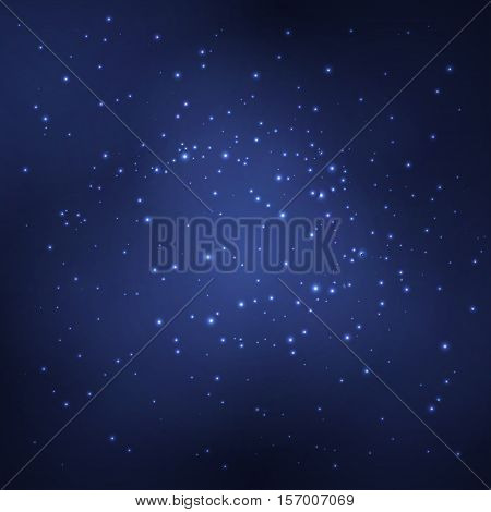 Abstract background with white glowing objects. The starry night sky. Vector illustration