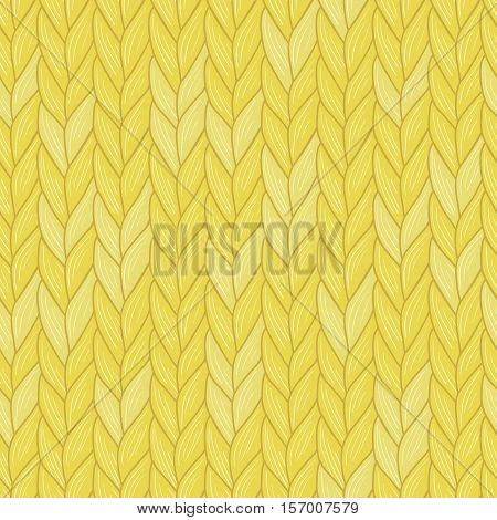 Knitted yellow seamless pattern. Natural warm knitted fabric. Winter woolen clothes. Hand drawn seamless background. Vector, Eps, added to swatch palette. For backgrounds, packaging and other designs.