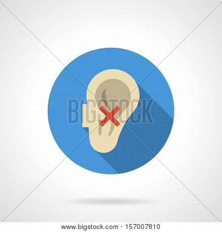 Hearing loss due to bad habits, diseases, external conditions. Symbol of deafness. Human ear with red crossed sign. Round blue flat design vector icon.