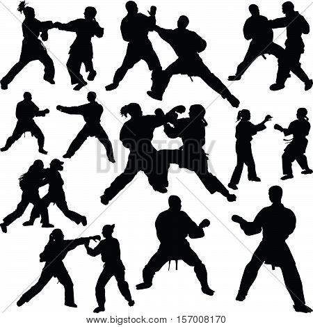 Karate sport as martial art silhouette vector