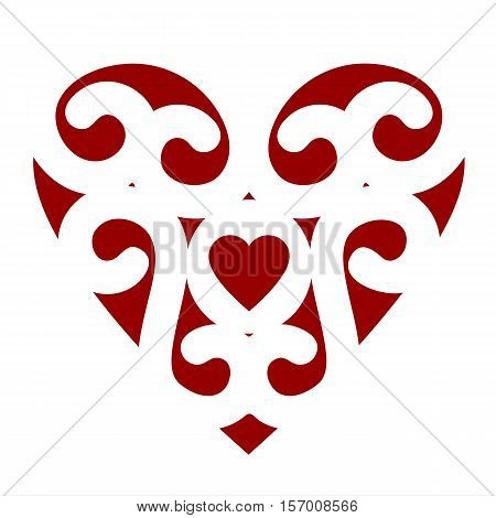 Wedding card template with heart for laser cutting