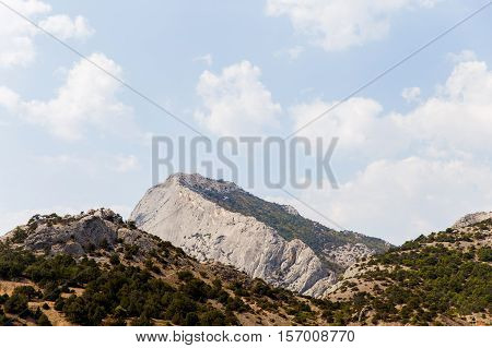 Russia. Crimea. Sudak. Genoese fortress. View of mountains with lush vegetation 14.09.2016
