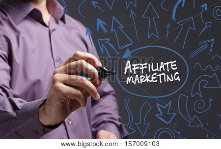 Technology, Internet, Business And Marketing. Young Business Man Writing Word: Affiliate Marketing