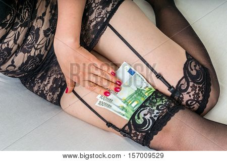 Prostitute Hiding Money In Her Stockings