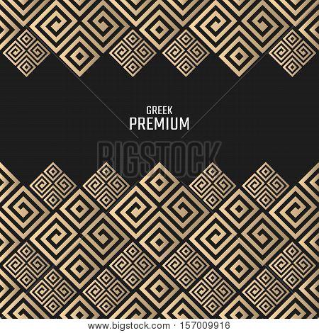 Vector geometric background greek style. Meander border for design. Light golden vector frame. Premium vector card in luxury style.