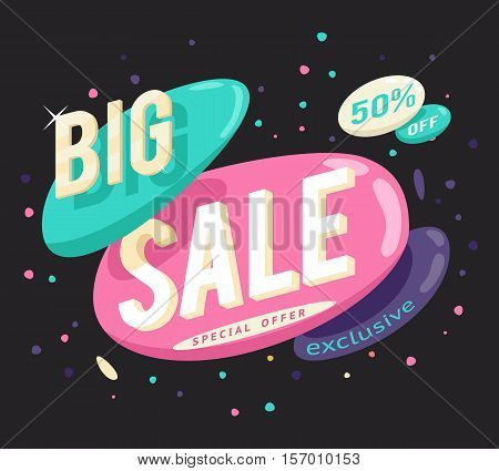 Advertising big and sale banner layout special offer concept sticker vector illustration
