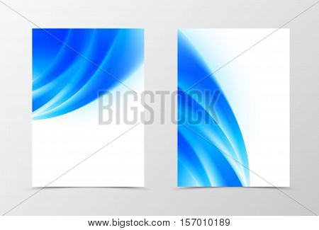Front and back wave flyer template design. Abstract template with blue lines in soft style. Vector illustration