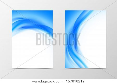 Front and back wavy flyer template design. Abstract template with blue lines in soft style. Vector illustration