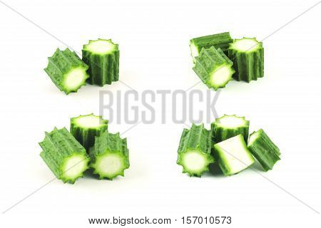 fresh angled Loofah or angled gourd on white background