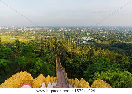 Image Of Long Stairs Way To Forest Destination.