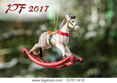 Pf 2017 - Rocking Horse, Closeup Of Christmas Tree