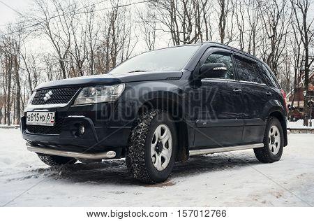Smolensk, Russia - November 12, 2016: Suzuki Vitara parked in winter street. is a compact SUV produced by Suzuki since 1988.