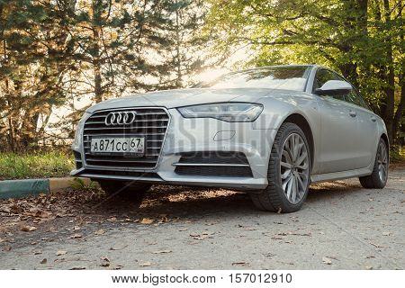 MUNICH, GERMANY - OCTOBER 01, 2016: Audi A6 parked on a street of Munich suburb. Audi is among the best-selling luxury automobiles in the world.