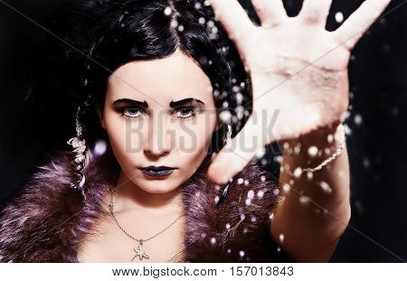 Beautiful Girl In Image Of The Snow Queen.