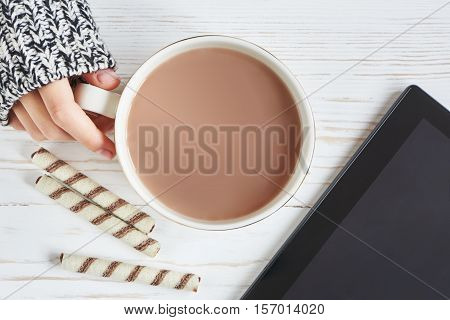 Cocoa Cup And Woman Hand